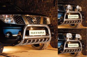 Frontbügel Frontschutzbügel Bullbar Steeler für Nissan Navara 2005-2010 Modell G