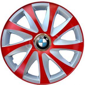 """Radkappen für BMW 15"""", DRIFT EXTRA rot-silber 4 Stück"""