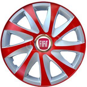 """Radkappen für FIAT 15"""", DRIFT EXTRA rot-silber 4 Stück"""
