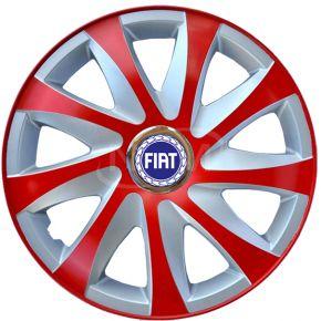 """Radkappen für FIAT 14"""", DRIFT EXTRA rot-silber 4 Stück"""
