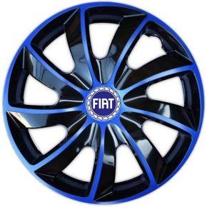 "Radkappen für FIAT BLUE 15"", QUAD BICOLOR blau 4 Stück"