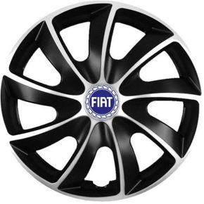 """Puklice pre Fiat 15"""", Quad bicolor modrý znak, 4 ks"""