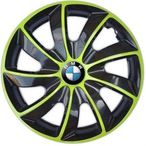 "Radkappen für BMW 15"", QUAD BICOLOR grün 4 Stück"