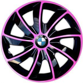 "Radkappen für BMW 15"", QUAD BICOLOR rosa 4 Stück"