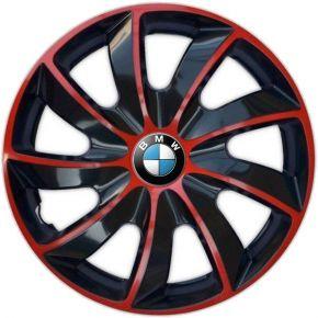 "Radkappen für BMW 15"", QUAD BICOLOR rot 4 Stück"