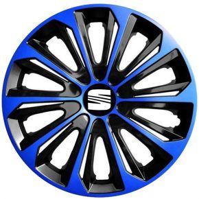 """Radkappen für SEAT 15"""", STRONG DUOCOLOR blau-schwarz 4 Stück"""