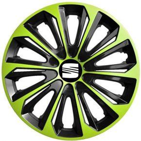 """Radkappen für SEAT 15"""", STRONG DUOCOLOR grün-schwarz 4 Stück"""