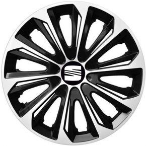 """Radkappen für SEAT 15"""", STRONG DUOCOLOR schwarz und weiß 4 Stück"""